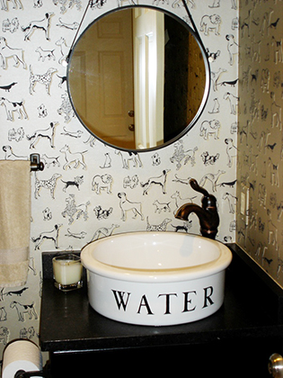 Studio C Interiors fun bathroom with puppy designs